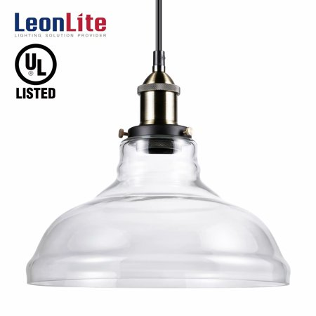 LEONLITE Industrial Glass Pendant Lighting for Kitchen, LED Ceiling Lights