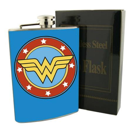 Wonder Woman Superhero Hip Flask Stainless Steel 8oz Comics Liquor Whiskey Vodka