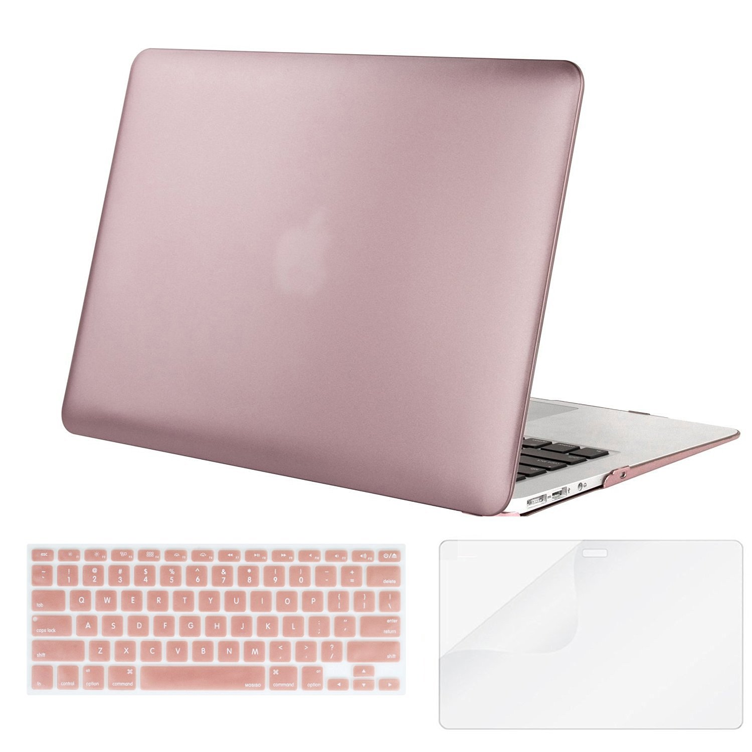 Mosiso Plastic Hard Case with Keyboard Cover with Screen Protector for MacBook Air 13 Inch (Models: A1369 and A1466),Baby Pink