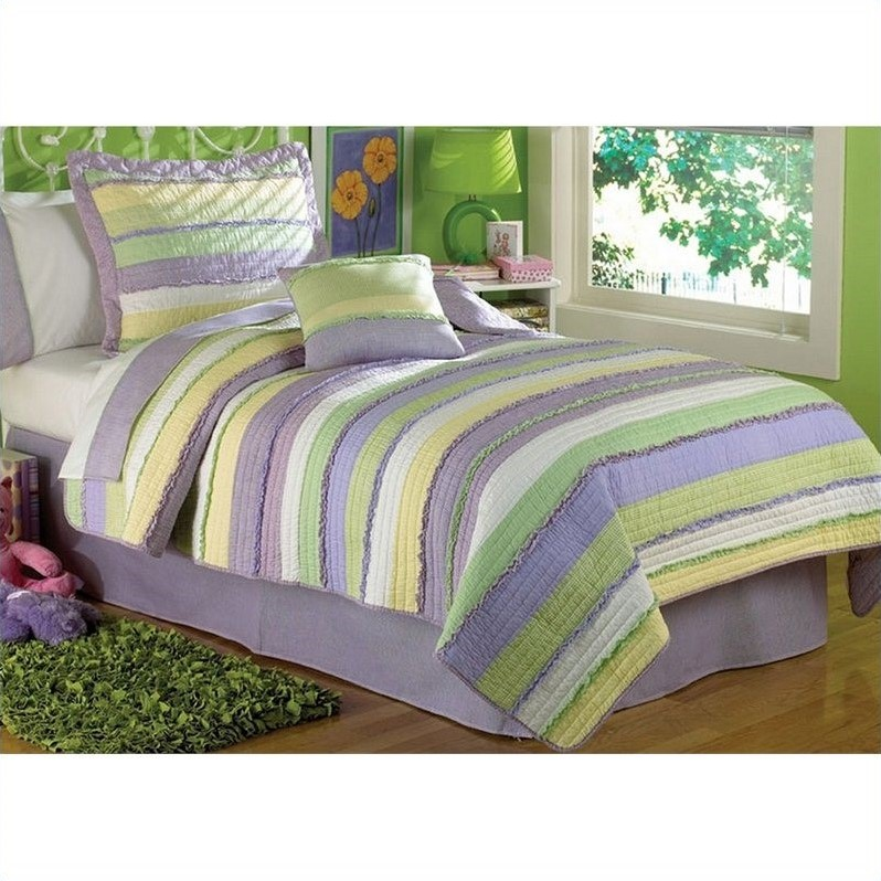 PEM America Annas Ruffle Quilt Set in Purple and Yellow