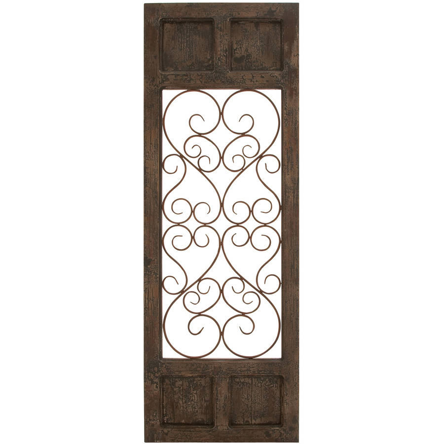 Decmode Wood and Metal Wall Panel, Brown
