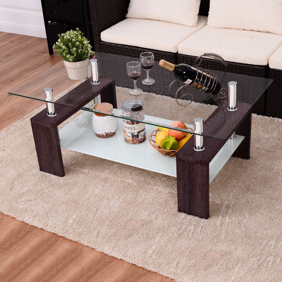 Costway Rectangular Tempered Glass Coffee Table w Shelf Wood Living Room Furniture by Costway