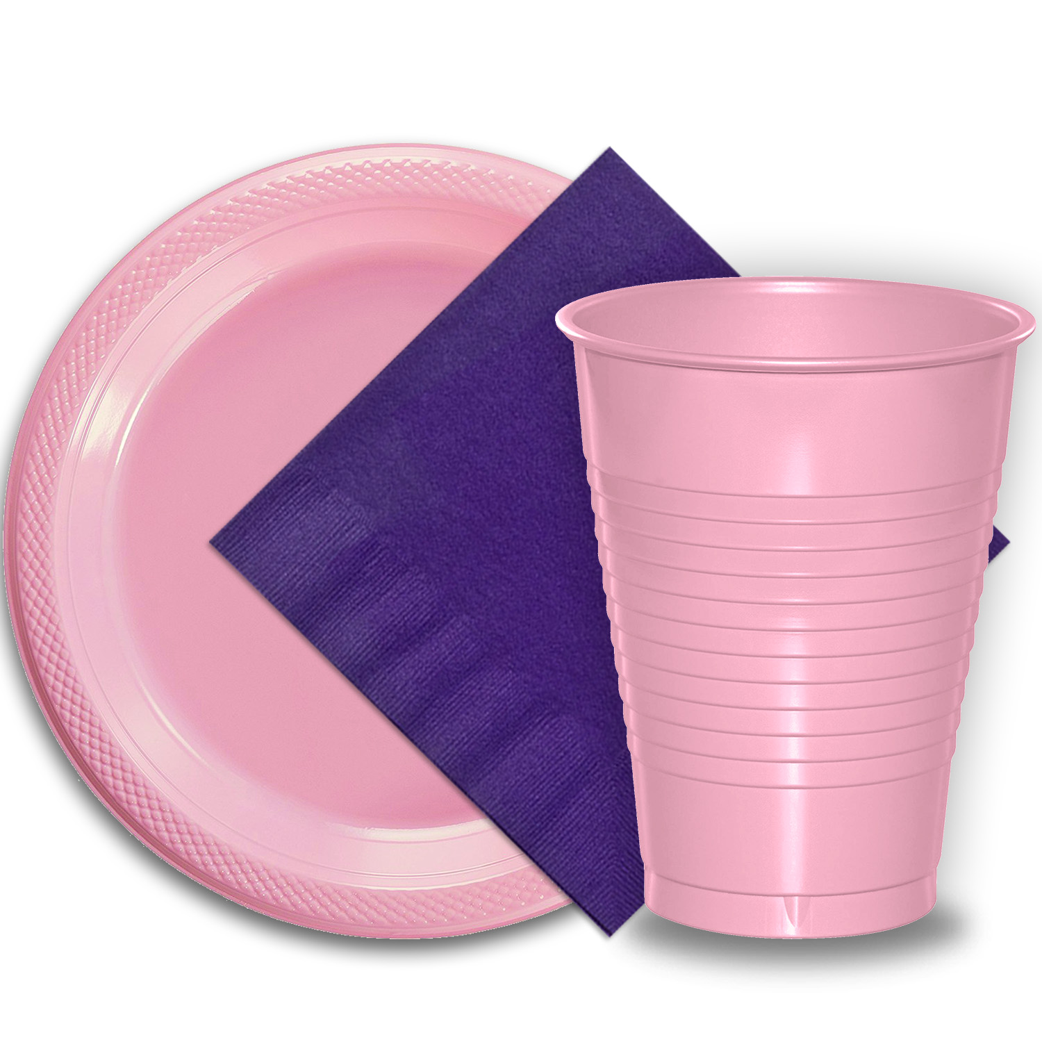 """50 Pink Plastic Plates (9""""), 50 Pink Plastic Cups (12 oz.), and 50 Purple Paper Napkins, Dazzelling Colored Disposable Party Supplies Tableware Set for Fifty Guests."""