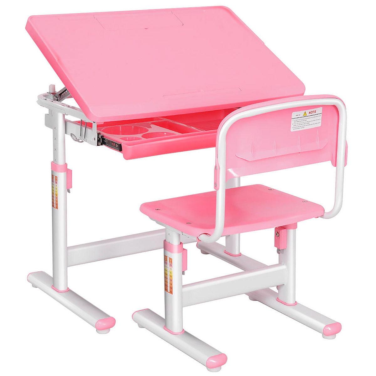 Costway Children Desk & Chair Set Height Adjustable Student Study Kids Work Station Pink