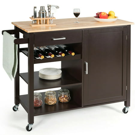 Costway 4 Tier Wood Kitchen Island Trolley Cart Storage