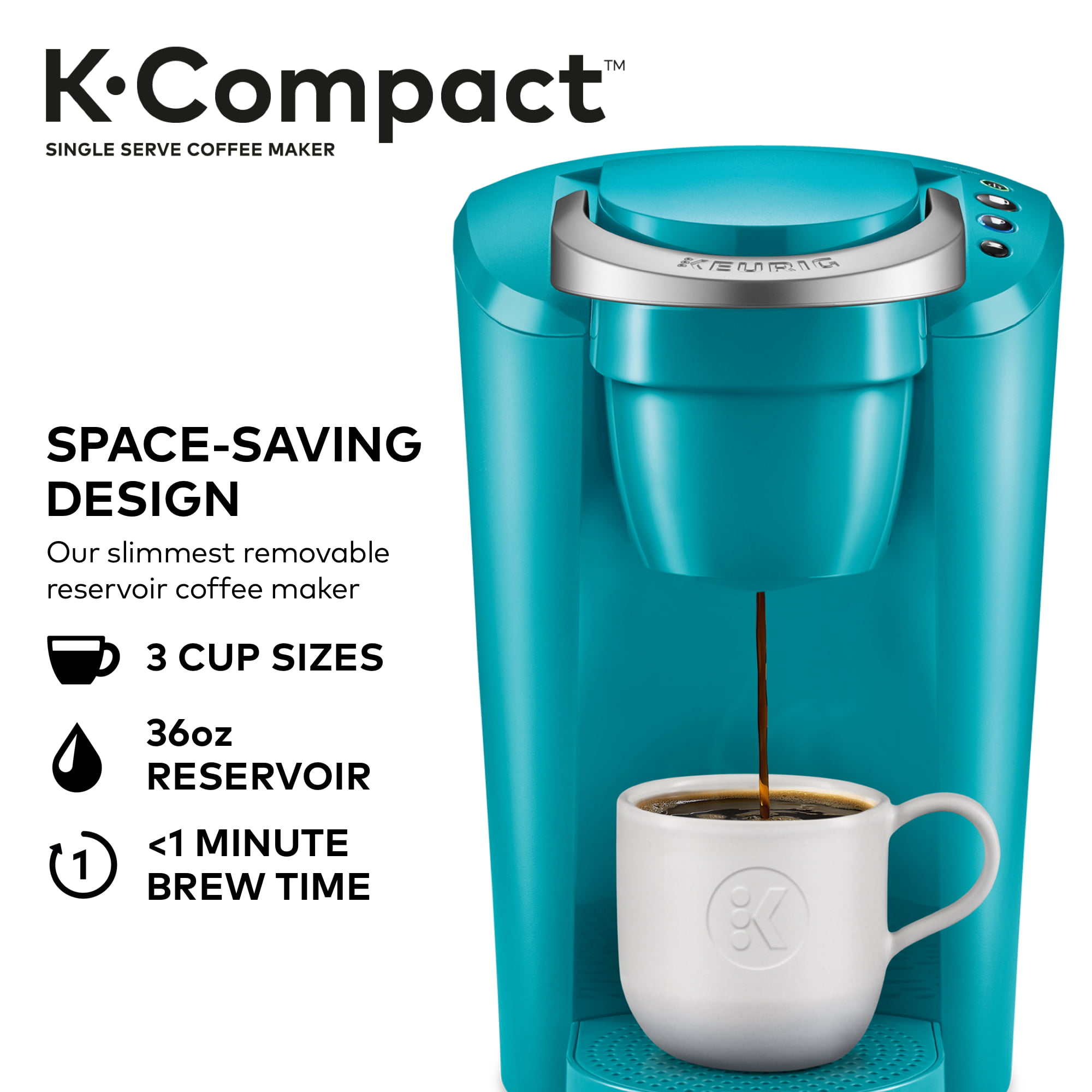 Keurig K-Compact Single-Serve K-Cup Pod Coffee Maker, Turquoise ...