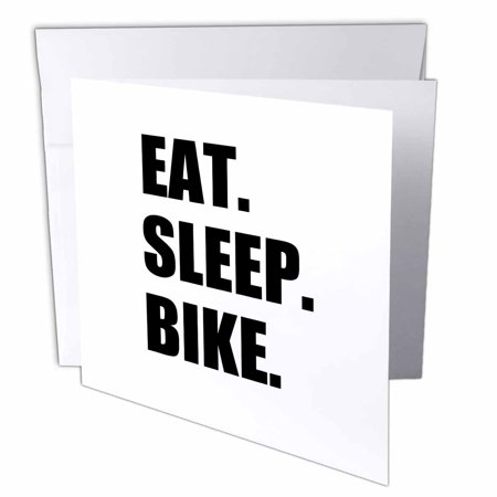 3dRose Eat Sleep Bike - passionate about biking - biker typography text gifts - Greeting Cards, 6 by 6-inches, set of 6 Biker Greeting Cards