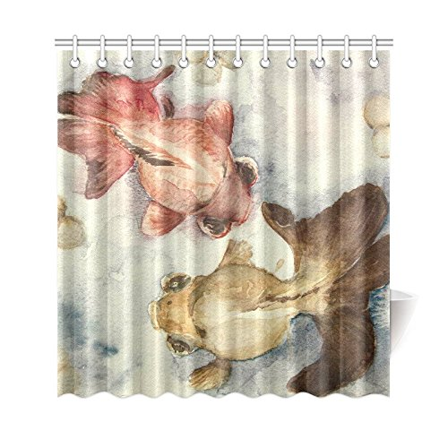 GCKG Watercolor Artwork Shower Curtain Goldfish Polyester Fabric Bathroom Sets 66x72 Inches