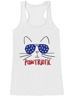 21f7947a03 Product Image Custom Party Shop Women s Pawtriotic 4th of July White Tank  Top - X-Large