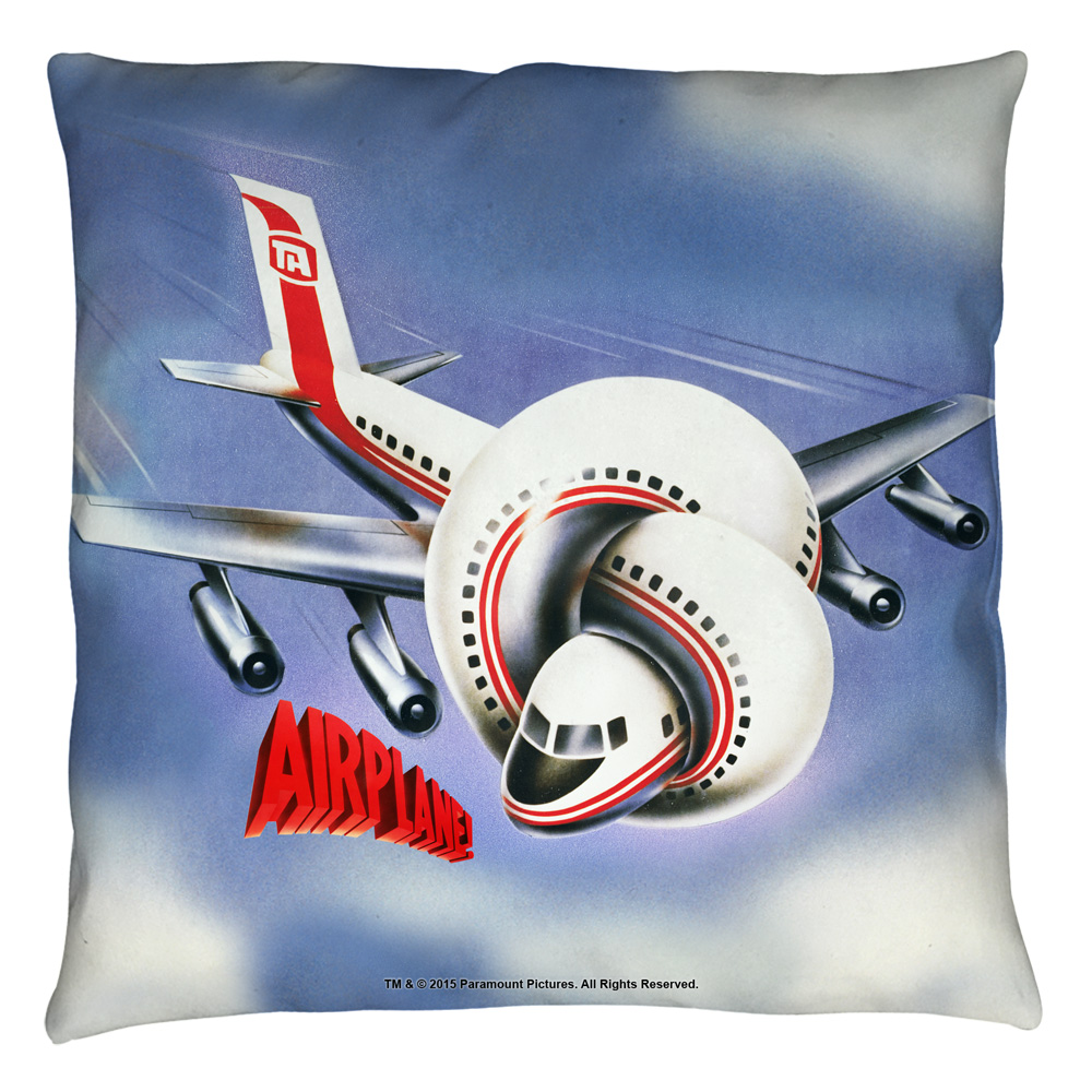 Airplane Postet Throw Pillow White 20X20