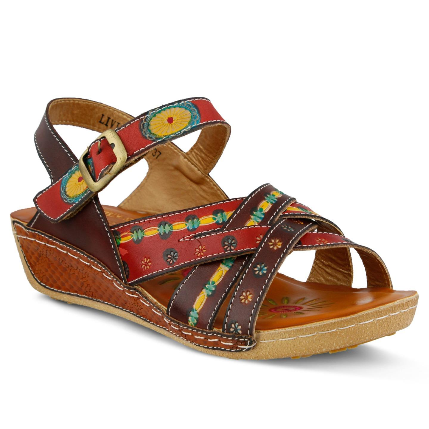 L'Artiste By Spring Step Livingstone Women's Sandals Camel Multi EU 37 US 7 by Spring Step