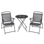 Best Choice Products 3-Piece Foldable Compact Outdoor Bistro Set, Black