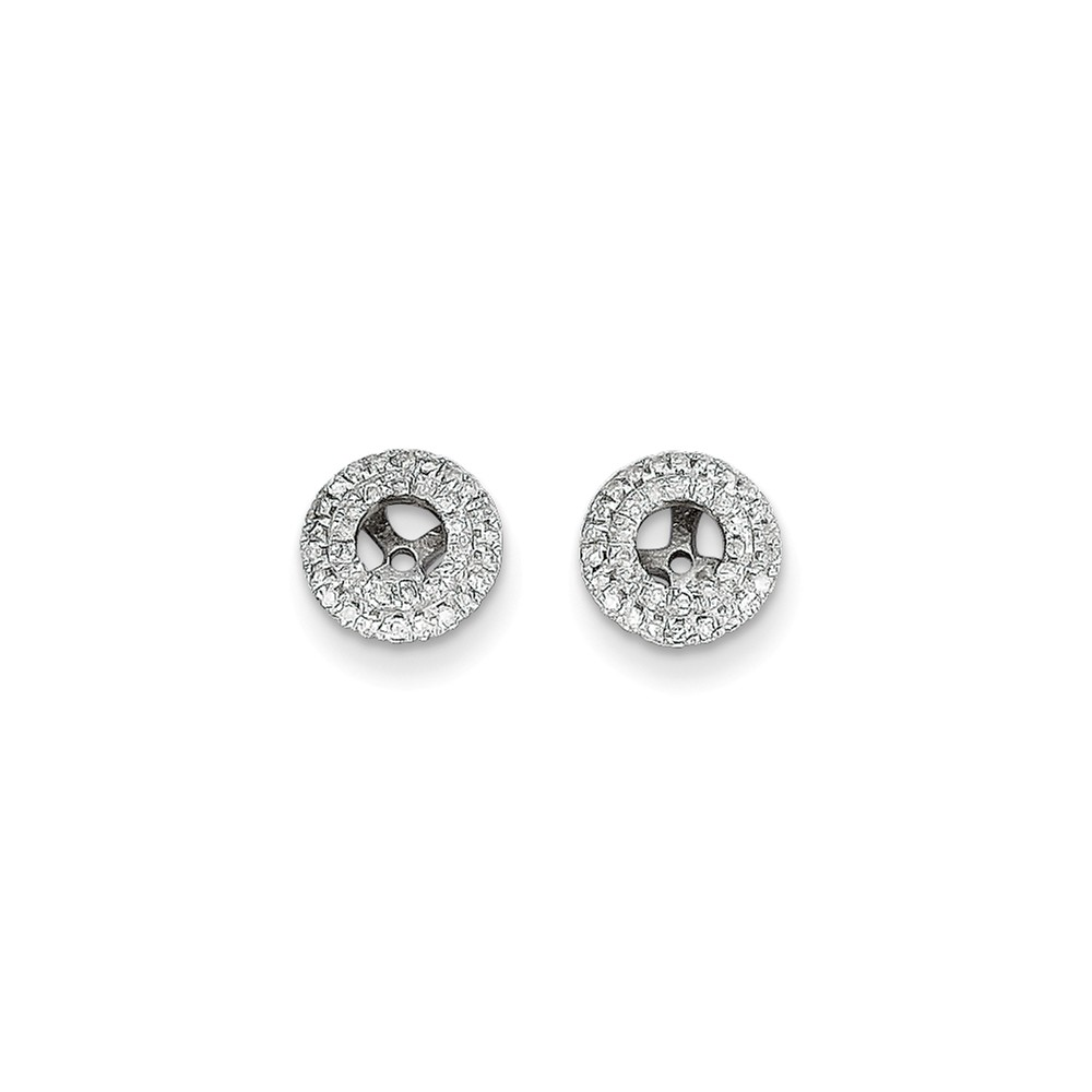14K White Gold 0.23ct Diamond Earrings Jackets (3.25mm Opening for 0.12ct Stone)