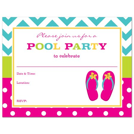 Flip Flops Fill-In Pool Party Invitations and Envelopes - 24 count