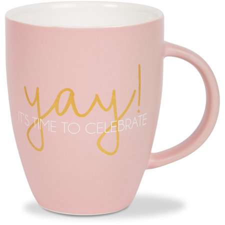 Pavilion - Yay! It's Time To Celebrate! Matte Pink Birthday Large 20 oz Coffee Cup Mug