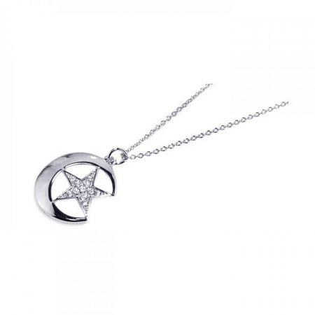 Clear Pave Set Clear Cubic Zirconia Crescent Moon Star Necklace Rhodium Plated Sterling Silver (Rhodium Star)