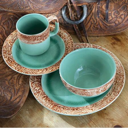 Western Scroll Turquoise Dinnerware Set - 16 pcs