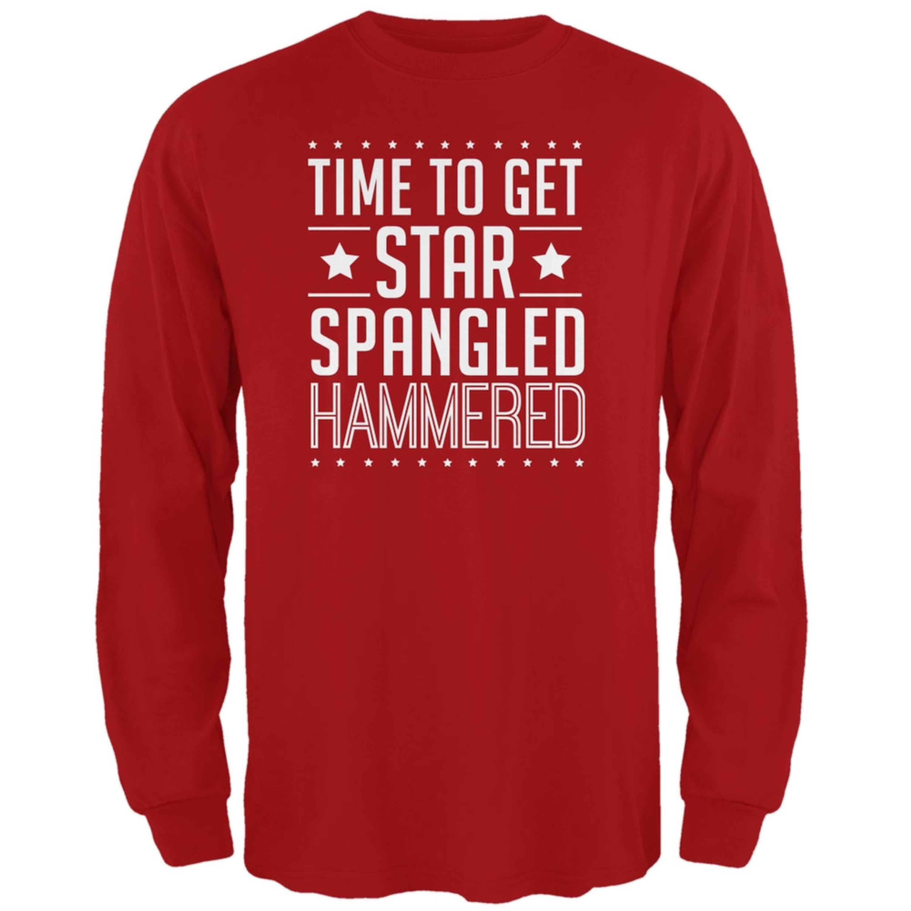 Time to get Star Spangled Hammered Red Adult Long Sleeve T-Shirt