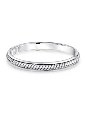 Twisted Cable Rope Hinge Bangle Bracelet For Women Hollow Oxidized 925 Sterling Silver 7.5 Inch