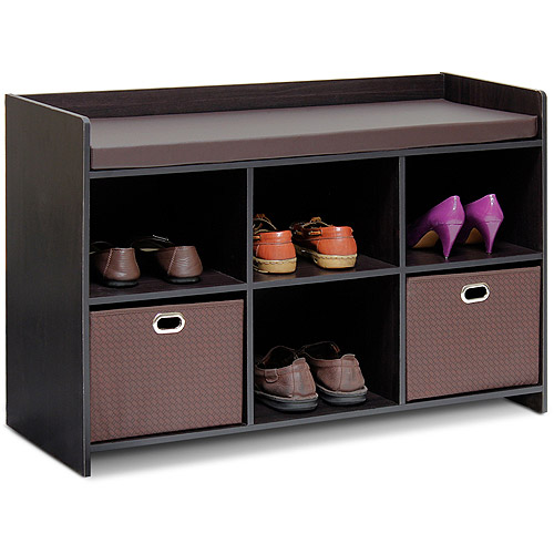 Furinno 13138EX/EX/BR Econ Storage Bench with Comfy Cushion