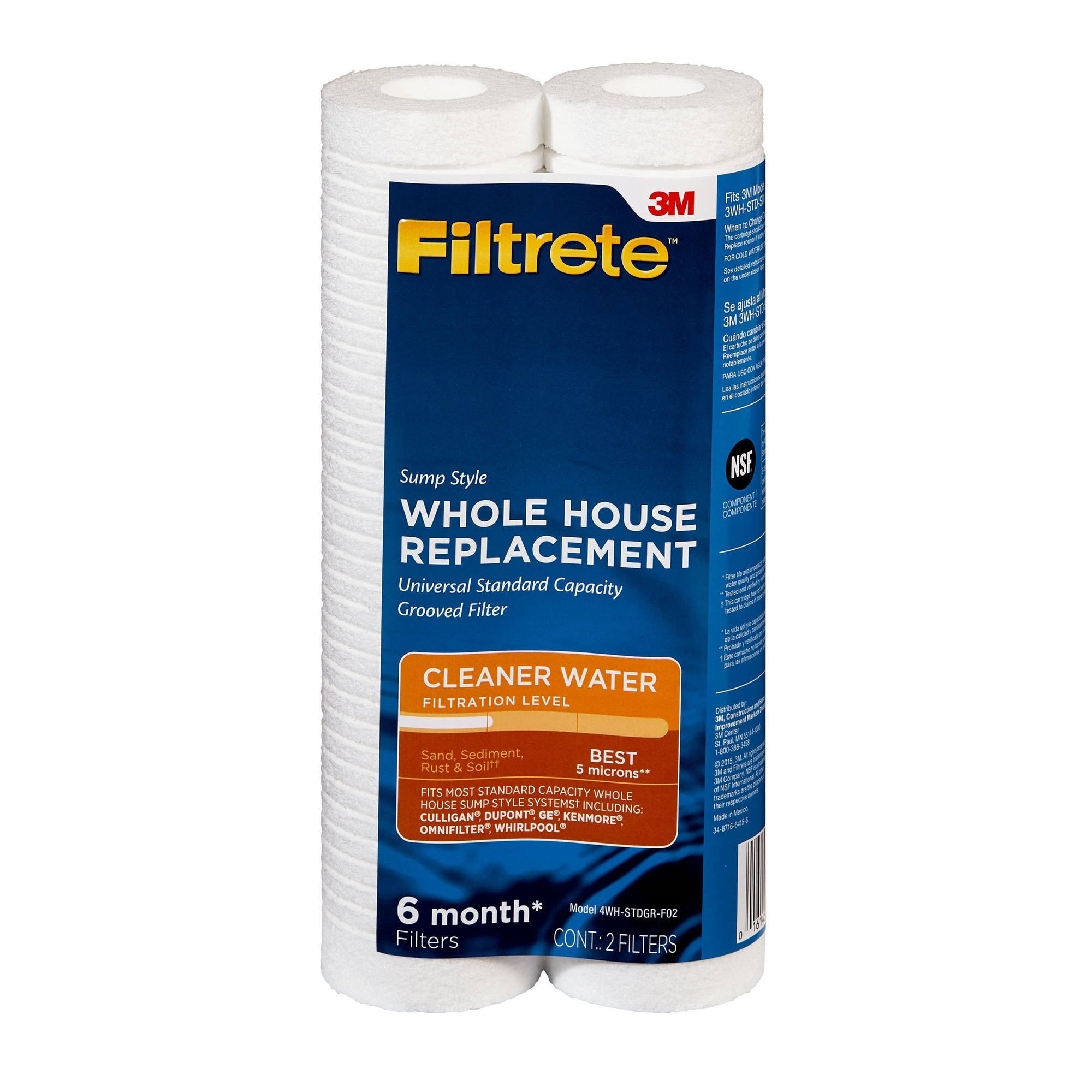 Filtrete Standard Capacity, Grooved Replacement Filter, Sump Style (sediment - best) - 2 pack