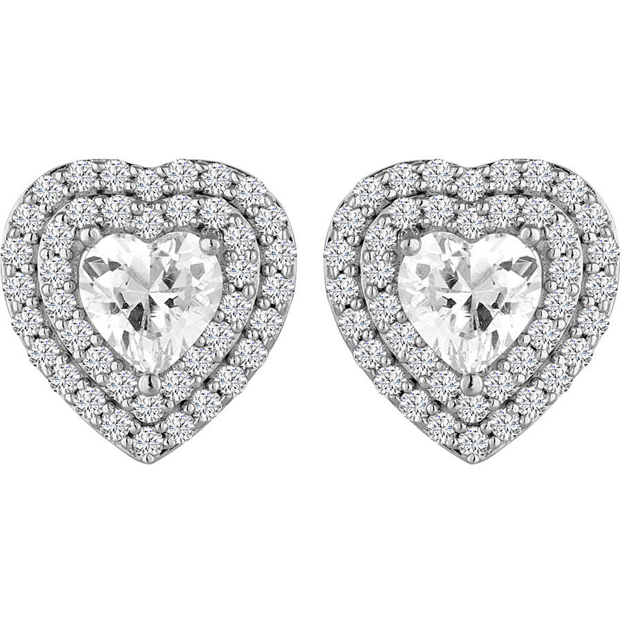 Simulated Diamond Sterling Silver Halo Heart Earrings