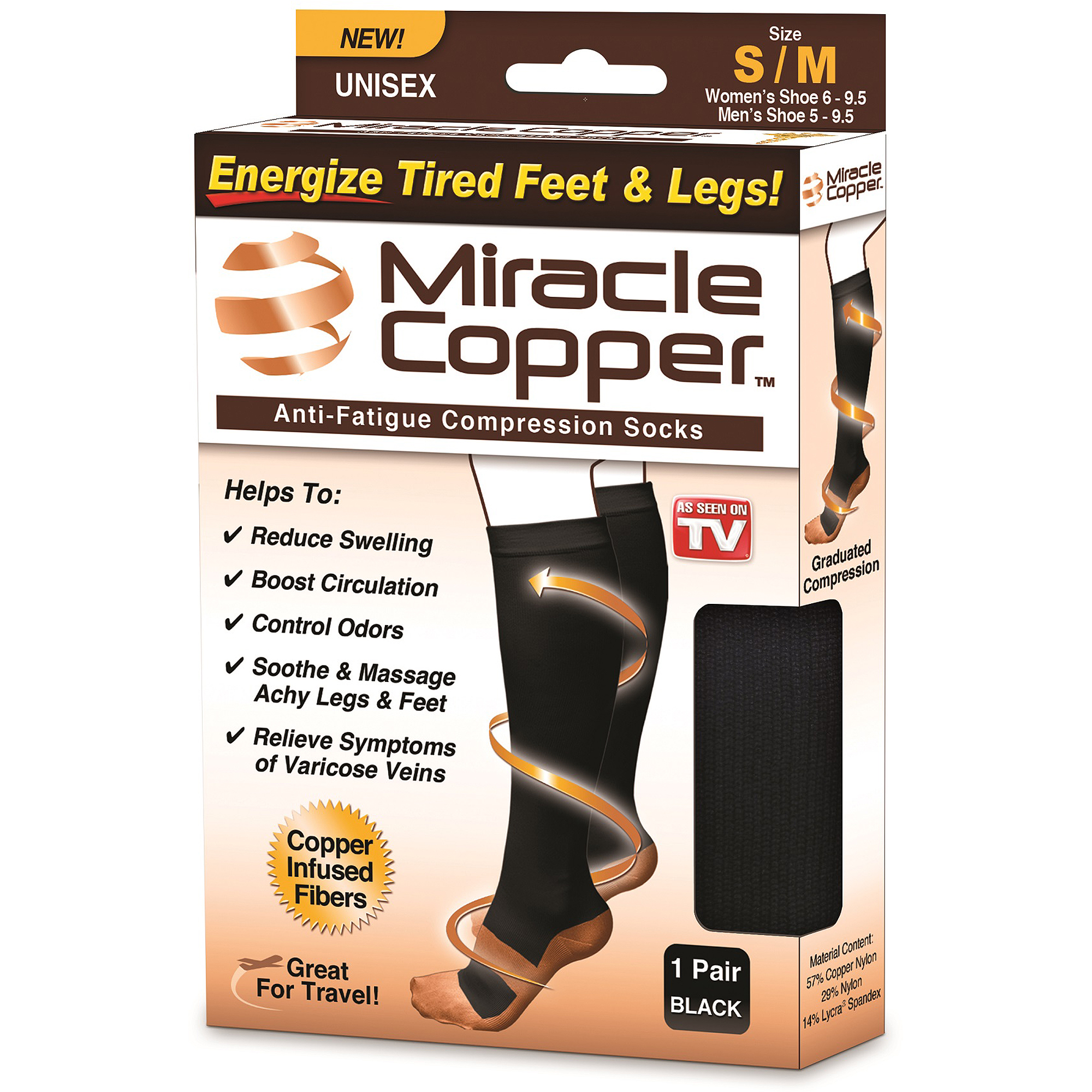 As Seen on Miracle Copper Socks, Copper-Infused Compression Socks, S/M