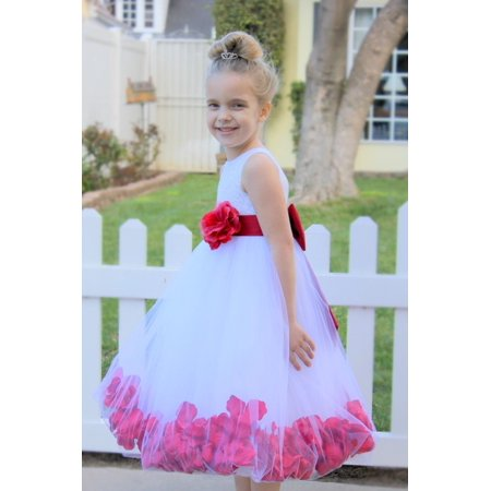 Ekidsbridal White Floral Lace Heart Cutout Flower Girl Dress with Petals New Formal Special Occasions Dresses Wedding Pageant Dresses Recital Communion Baptism Holiday Seasonal Party 185T