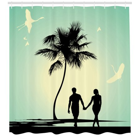 Romantic Shower Curtain, Married Couple walking on the Beach with Tropical Fauna and Flora, Fabric Bathroom Set with Hooks, Pale Green Seafoam Black, by Ambesonne ()