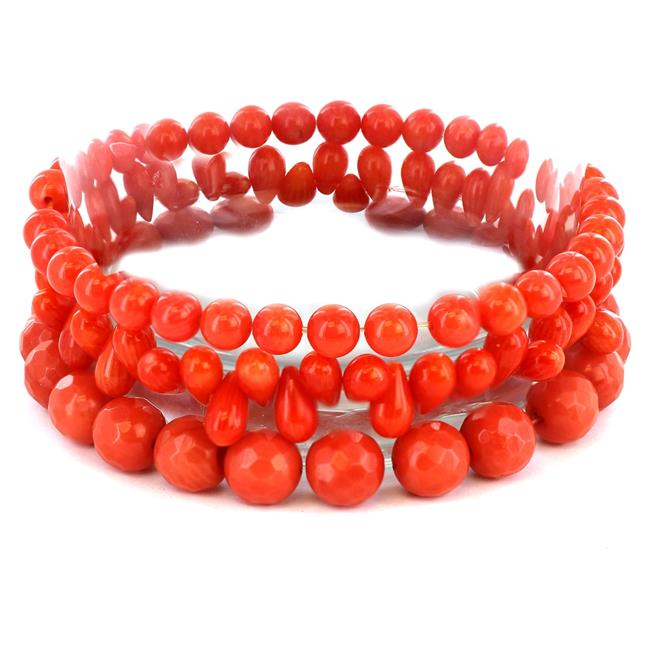 West Coast Jewelry TDL-GB0823 Womens Dyed Orange Coral Beaded & Multi-faceted Bracelets Set of 3 by West Coast Jewelry