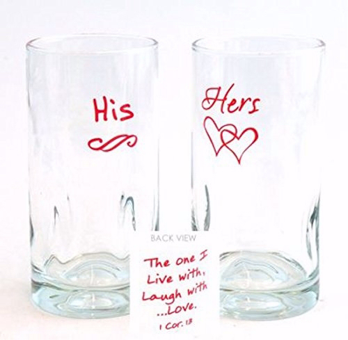 Glass Tumbler Set-One I Live With... His/Hers (16 Oz) (Set Of 2 Assorted)