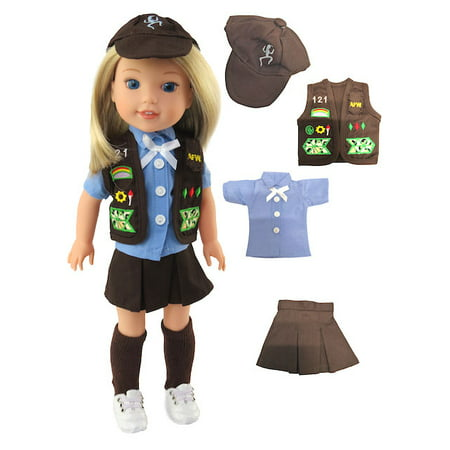 Brownie Girl Scouts Outfit for Wellie Wisher Dolls - 14 Inch Dolls   Fits 14