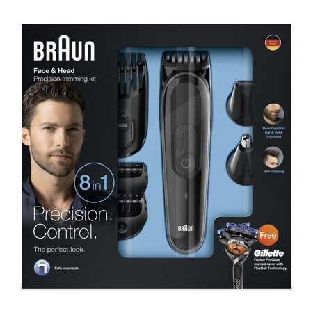 Braun MGK3060 8-in-1 All-in-One Beard Trimmer for Men, Cordless Hair Clipper, Black/Grey, with 6 Attachments and Gillette ProGlide