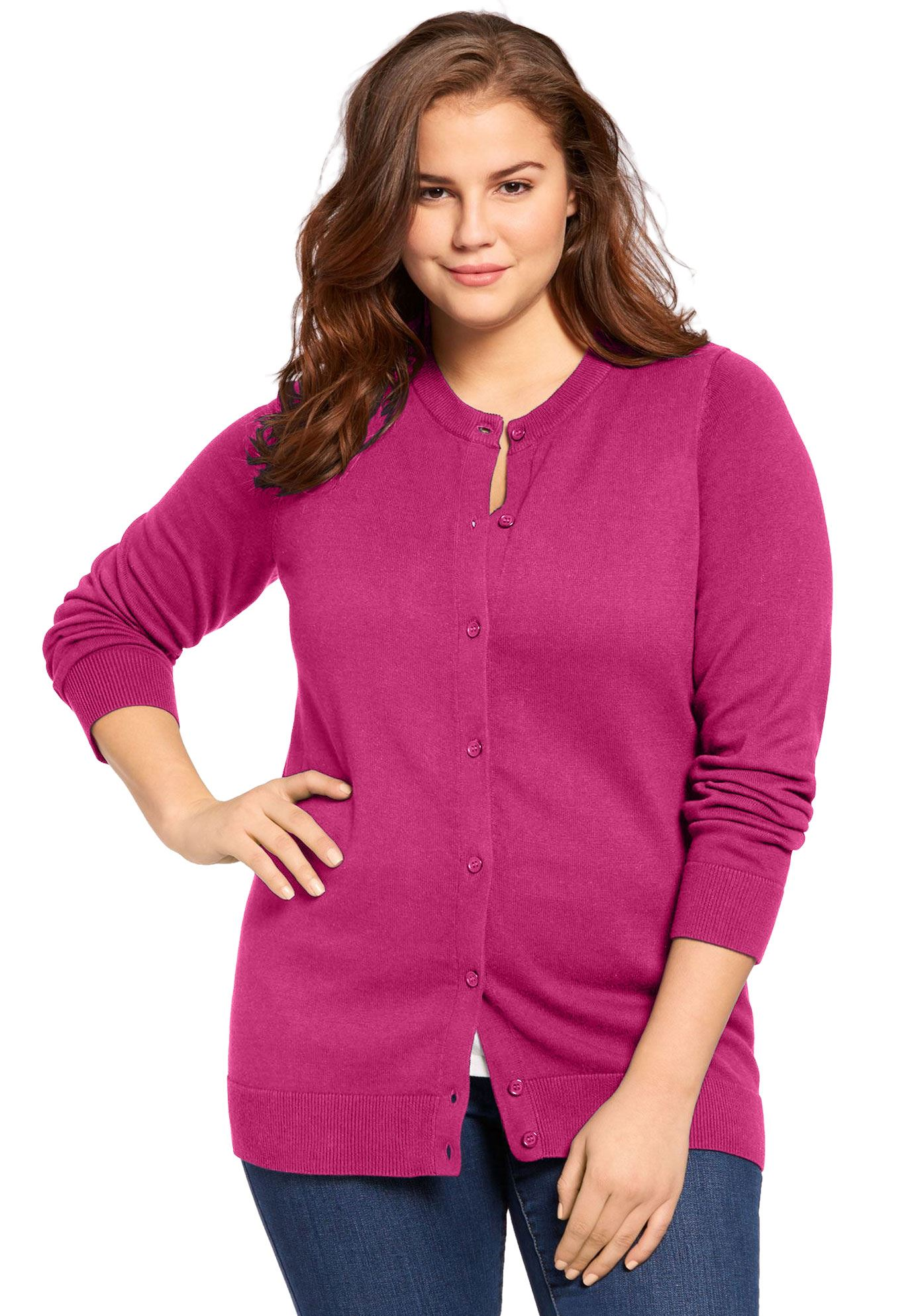 Woman Within Womens Plus Size Perfect Long Sleeve Cardigan