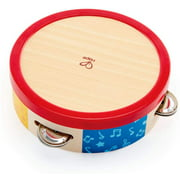 Hape Tap-Along Tambourine   Wooden Tambourine Drum for Kids, Musical Instrument for Children 12 Months and Up Multicolor, L: 6.5, W: 1.8, H: 6.5 inch