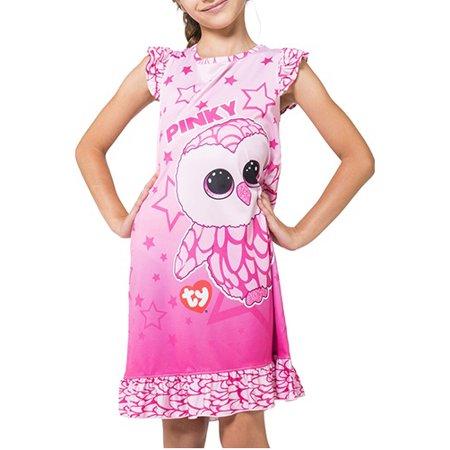 TY Beanie Boo Girls Pinky the Owl Ruffle Nightgown