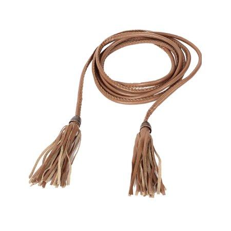 Unique Bargains 210cm Long Tassel Decor Faux Leather Self Tie Thin Waist Belt Brown for Women