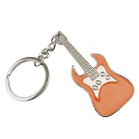 Zine Alloy Key Chain Musical Instrument Guitar Key Pendant
