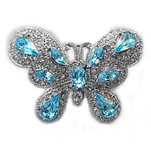 Platinum-Plated Swarovski Crystal Fancy Butterfly Brooch Pin by