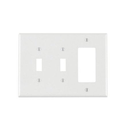 Leviton PJ226-W White Midway Nylon Three Gang Combination Two Toggle Switch One Decora Wall Plate 2 Gang Switch Wall Plates