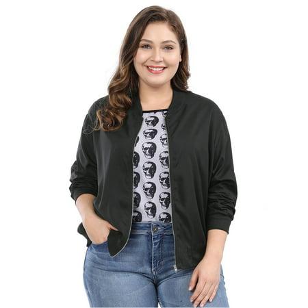 Unique Bargains Women's Plus Size Zipper Bomber Jacket (Size 2X) Black (Plus Size Ruffle Coat)