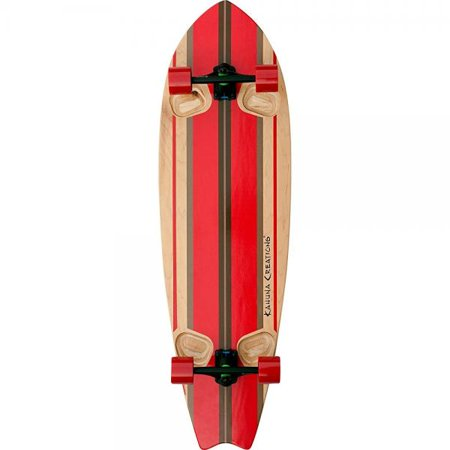 Kahuna Creations Shaka Surf Natural / Red Complete Longboard Skateboard - 13.7 x 46
