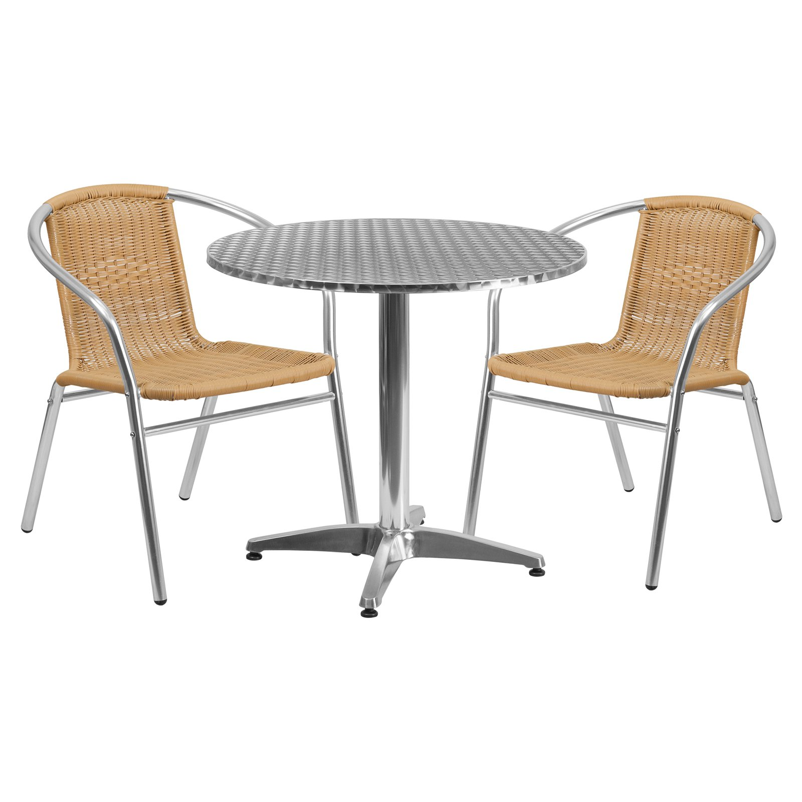 Flash Furniture 31.5'' Round Aluminum Indoor-Outdoor Table with 2 Rattan Chairs, Multiple Colors