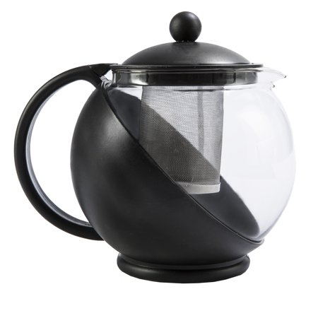 Primula TODAY Kate Half Moon Borosilicate Glass Teapot with Stainless Steel Infuser - 40 oz, Black - Metal Teapot