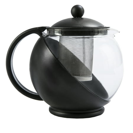 Black Glass Tea Pots - Primula TODAY Kate Half Moon Borosilicate Glass Teapot with Stainless Steel Infuser - 40 oz, Black