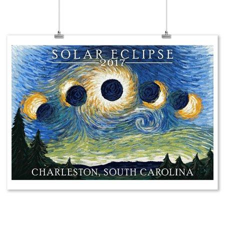 Charleston, South Carolina - Solar Eclipse 2017 - Starry Night - Lantern Press Artwork (9x12 Art Print, Wall Decor Travel Poster)](Halloween South Beach 2017)