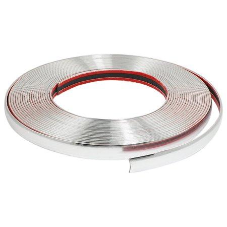 Chrome Strip - Unique Bargains Silver Tone Soft Plastic Trim Line Chrome Moulding Trim Strip 15M x 10mm