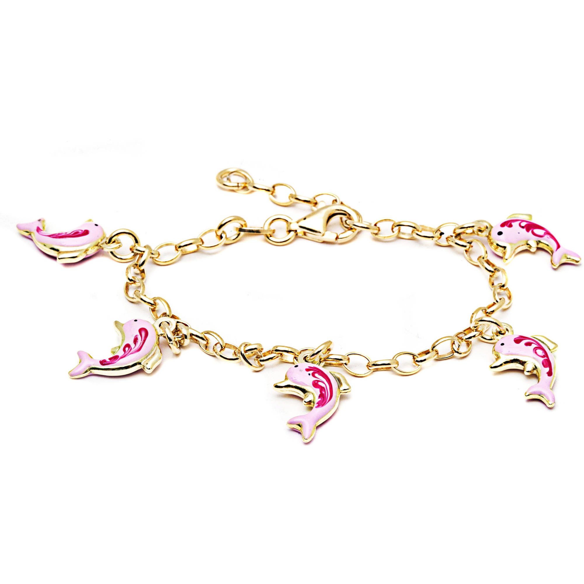 Pori Jewelers 18kt Gold-Plated Sterling Silver Baby Charm Bracelet, 6