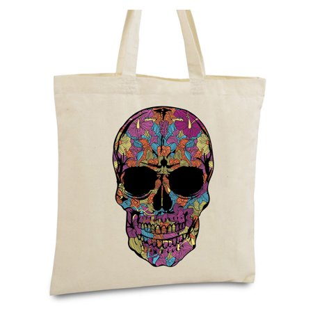 Gothic Tote Bag (Awkward Styles Black Flower Skull Bags Skull Canvas Tote Bag Skull Gifts Day of Dead Skull Accessories Gothic Gifts for He Dia de Los Muertos Accessories)