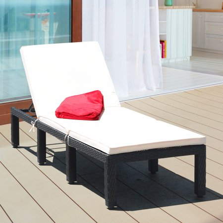 Costway Patio Rattan Lounge Chair Chaise Couch Cushioned Height Adjustable Pool Garden